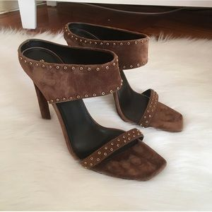 Saint Laurent Brown Suede Studded Heeled Sandals